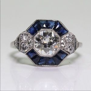 Jewelry - STERLING SAPPHIRE DIAMOND RING 7